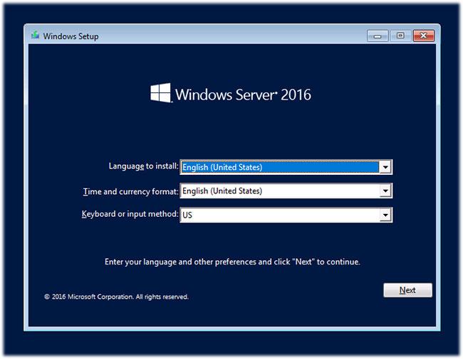 Màn hình cài đặt Windows Server 2016