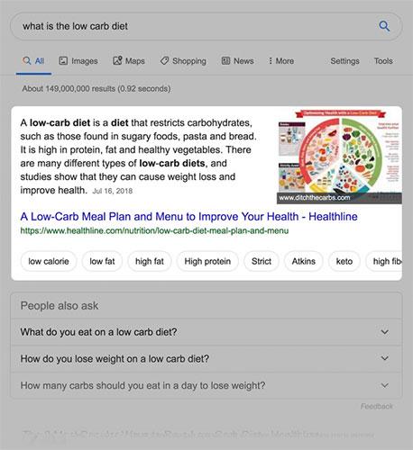 """Các hộp định nghĩa thường được Google sử dụng để trả lời các câu hỏi truy vấn """"là gì"""" (what is)"""