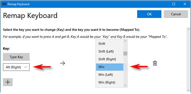 Chọn Win (đại diện cho phím Windows) từ menu drop-down