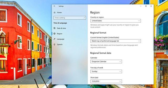 Cách thay đổi cài đặt vùng trên Windows 10
