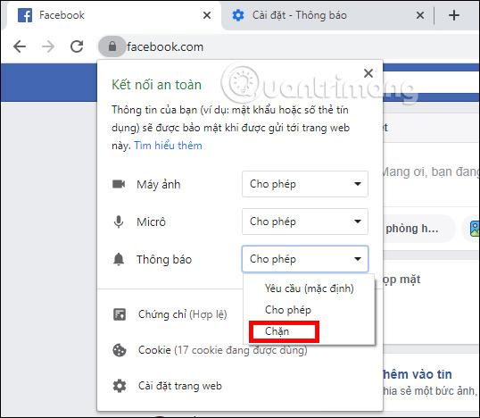 Chặn thông báo trên Facebook Chrome