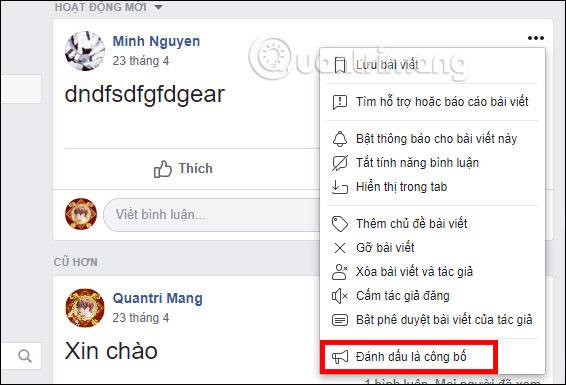 Đánh dấu bản công bố nhóm Facebook
