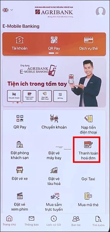Cách thanh toán hóa đơn trên Agribank E-Mobile Banking