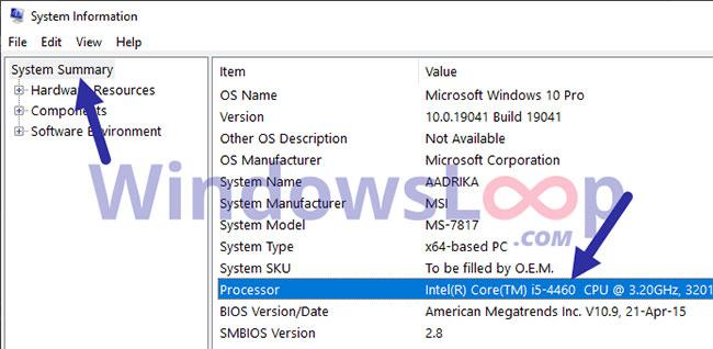 Bạn sẽ thấy số model CPU và tên bên cạnh Processor