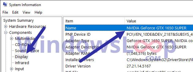 Tên GPU và số model sẽ nằm bên cạnh phần Name