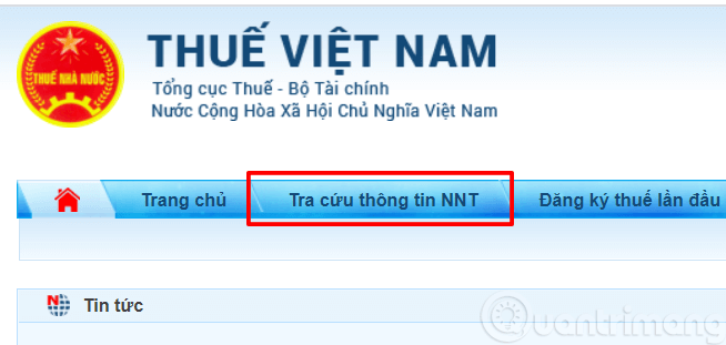 Chọn Tra cứu thông tin NNT