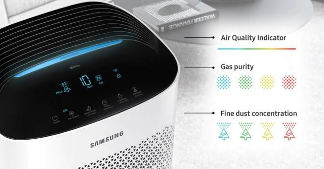 Hệ thống cảnh báo chất lượng không khí trên máy lọc không khí Samsung AX90R7080WD.