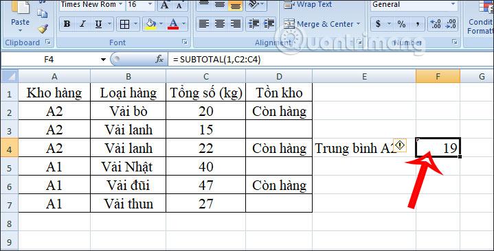 Cách dùng hàm SUBTOTAL trong Excel - Ảnh minh hoạ 7