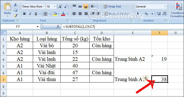Cách dùng hàm SUBTOTAL trong Excel - Ảnh minh hoạ 8