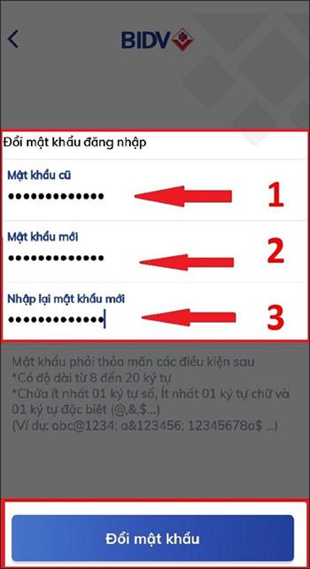 Cách đổi mật khẩu BIDV Smart Banking