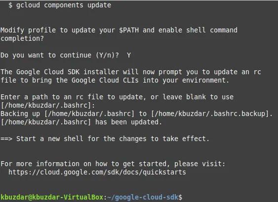 Google Cloud SDK đã được cài đặt thành công trên hệ thống Ubuntu