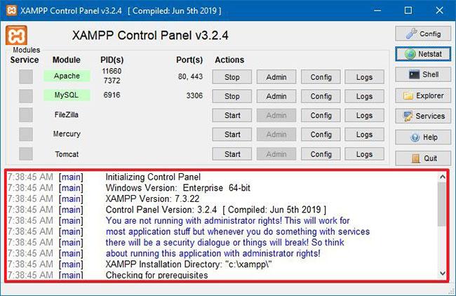 Nhật ký XAMPP Control Panel