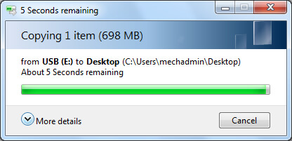 Sự cố quá trình sao chép file bị kẹt ở 5 giây còn lại