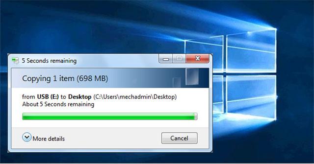 Khắc phục lỗi bản copy file bị kẹt ở 5 giây còn lại