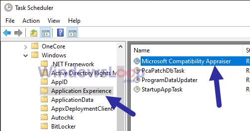 """Tìm và nhấp chuột phải vào tác vụ """"Microsoft Compatibility Appraiser"""""""