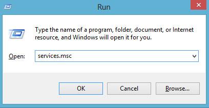 Nhấn Win + R và nhập services.msc