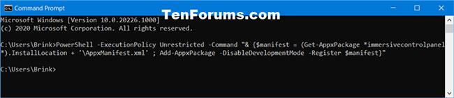 Cài đặt và đăng ký lại ứng dụng Settings trong Command Prompt