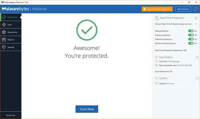 MalwareBytes là công cụ phát hiện và loại bỏ phần mềm độc hại được cung cấp miễn phí
