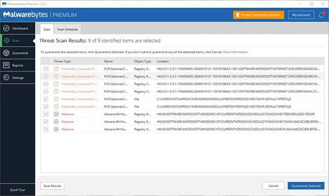Quá trình quét mặc định của MalwareBytes diễn ra nhanh như chớp