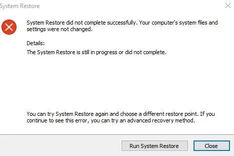 System Restore xảy ra lỗi