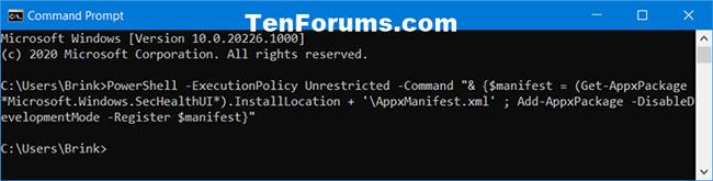 Cài đặt và đăng ký lại ứng dụng Windows Security trong Command Prompt