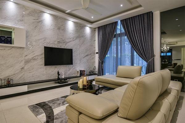 Ốp đá tường phòng khách