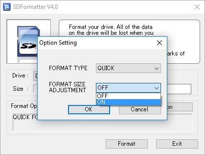 Đặt Format size adjustment thành On