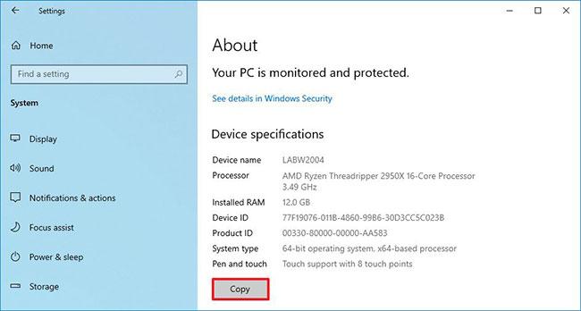 Sao chép và dán thông số phần cứng thiết bị trên Windows 10