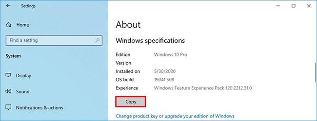 Sao chép và dán thông số kỹ thuật của hệ điều hành Windows 10