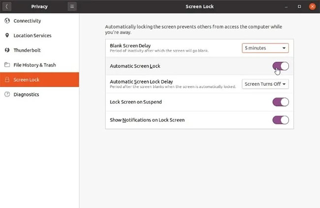 Tắt tùy chọn Automatic Screen Lock