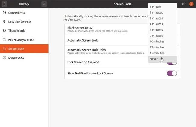 Đặt Blank Screen Delay thành Never