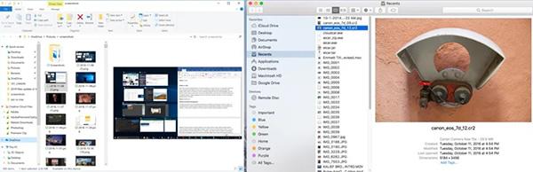 File Explorer and Finder