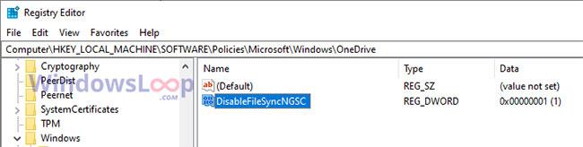 "Double-click the ""DisableFileSyncNGSC"" value."