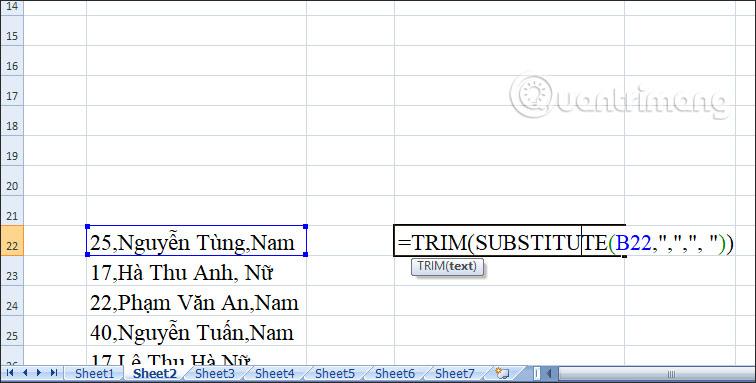 Cách tạo khoảng cách sau dấu phẩy trong Excel