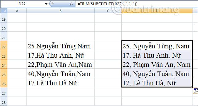 Cách tạo khoảng cách sau dấu phẩy trong Excel - Ảnh minh hoạ 2