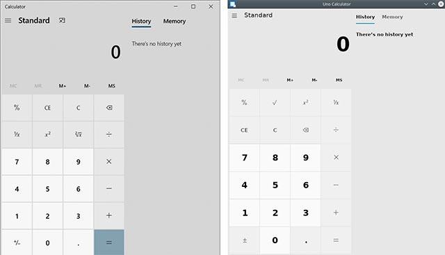 Windows 10 Calculator (Trái) và Uno Calculator (Phải)