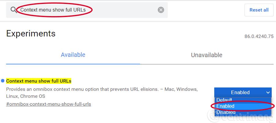 Chuyển Context menu show full URLs sang enabled