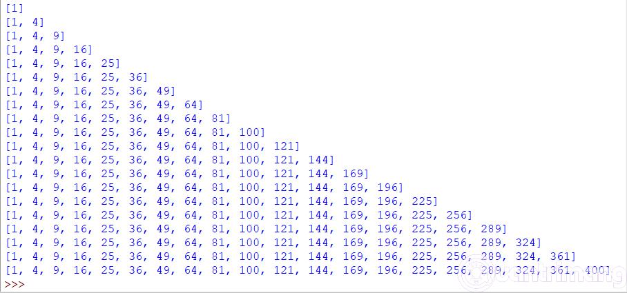 Kết quả bài tập Python 36 khi thay đổi thụt đầu dòng