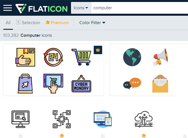 Flaticon là một tài nguyên tuyệt vời cho mọi nhu cầu về biểu tượng Windows