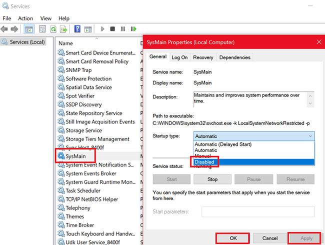 Khắc phục tình trạng Service Host SysMain sử dụng nhiều CPU và bộ nhớ trong Windows 10