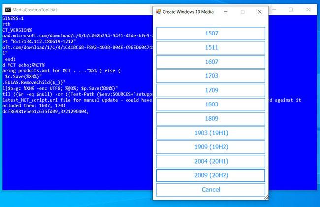 Hộp thoại hỏi phiên bản Windows 10 nào bạn muốn dùng làm phương tiện cài đặt