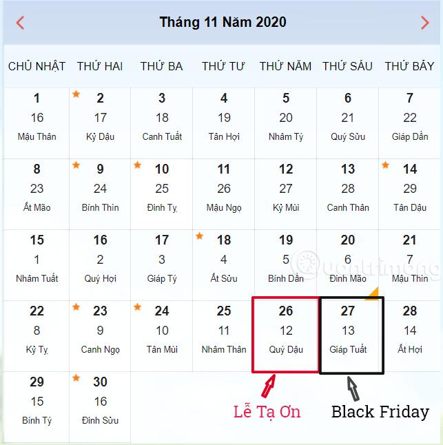 Lễ Tạ Ơn 2020 và Black Friday 2020