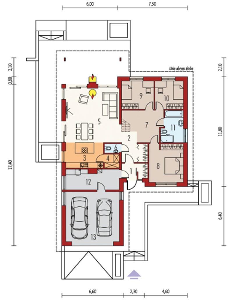 Bản vẽ mẫu biệt thự 1 tầng 3 phòng ngủ hiện đại
