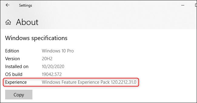 """""""Windows Feature Experience Pack"""" đã được cài đặt trên hệ thống của bạn"""