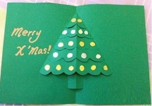 Làm thiệp Giáng sinh hình cây thông Noel tặng bạn bè 1