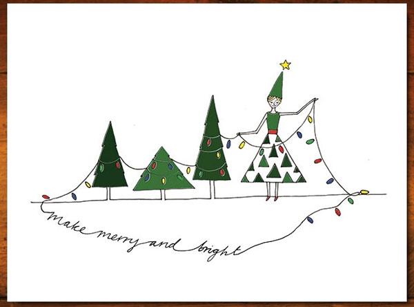 Bạn có thể sử dụng những tấm thiệp Giáng sinh được thiết kế sẵn trên mạng, tải xuống và in ra bìa cứng, sau đó biến tấu một chút