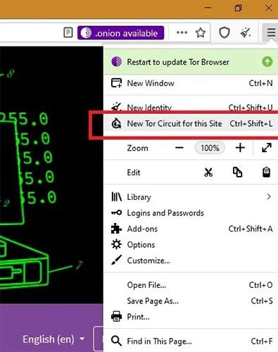 Sử dụng tùy chọn New Tor Circuit for this Site