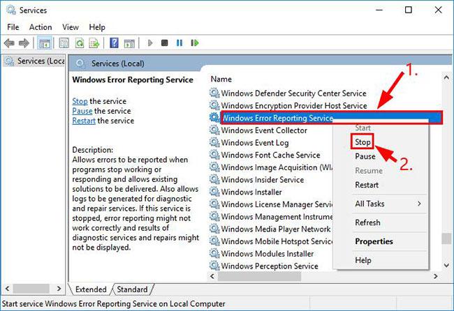 Vô hiệu hóa service Windows Error Reporting Service