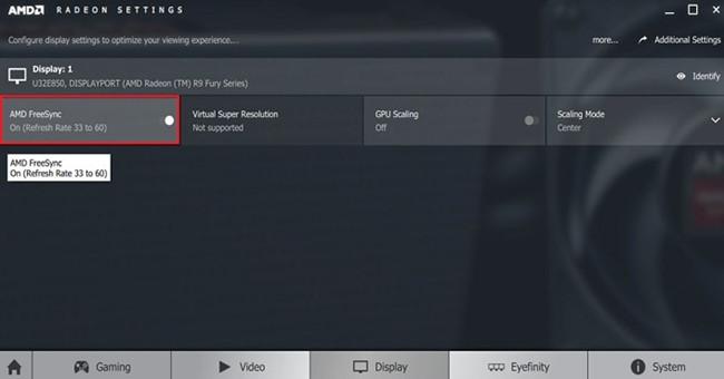 Tắt tùy chọn AMD FreeSync