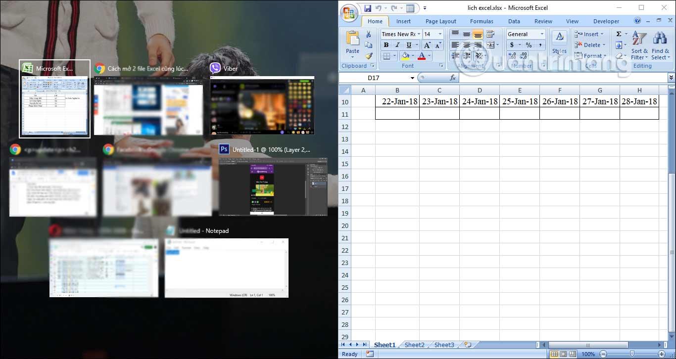 Cách mở 2 file Excel cùng lúc trên màn hình - Ảnh minh hoạ 2